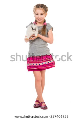 Easter photo. Cute little girl with a rabbit isolated on white background