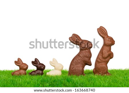 Easter rabbit family easter on a fresh meadow. Isolated on white. - stock photo