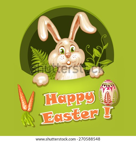 Easter Rabbit on green background - stock photo