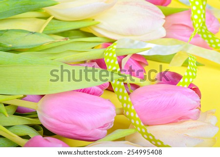 Easter ribbon with tulips over yellow paper - stock photo