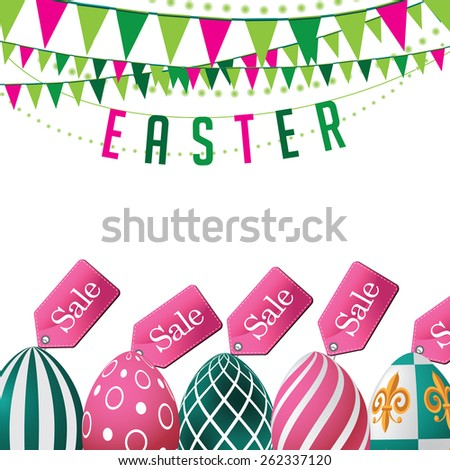 Easter sale eggs background. Royalty free stock illustration for ads, marketing, poster, flyer, blog, article, social media - stock photo