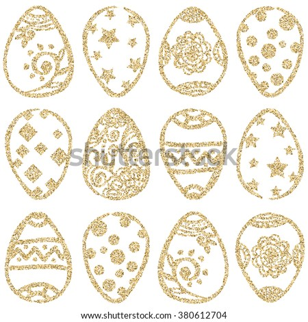 Easter seamless pattern with gold glitter eggs on white background. Easter eggs set. Gold Easter eggs. Easter background.  - stock photo
