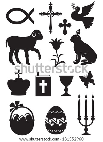 Easter set of silhouette black and white images - stock photo
