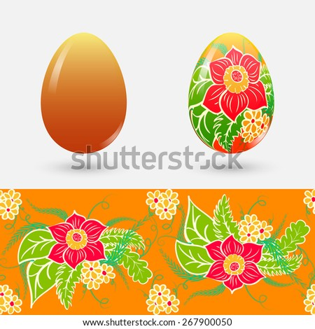 Easter set. Painted easter egg and clean. Seamless floral pattern. Rasterized version. - stock photo
