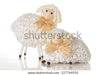 Easter sheep, studio isolated on white. - stock photo