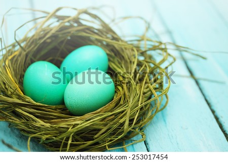 Easter still life nest of colored eggs - stock photo