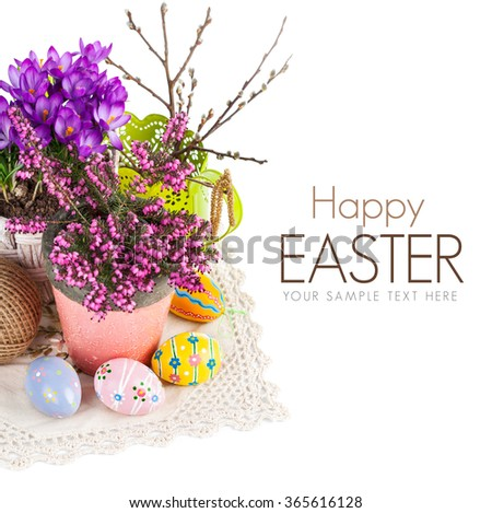 Easter still life with eggs and spring flowers. Isolated on white background - stock photo