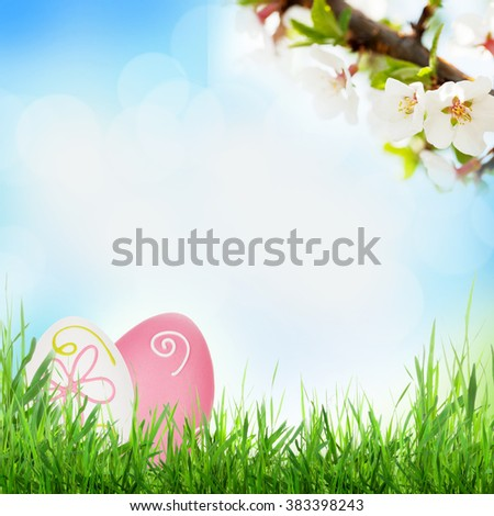 Easter sunny spring background with eggs in grass