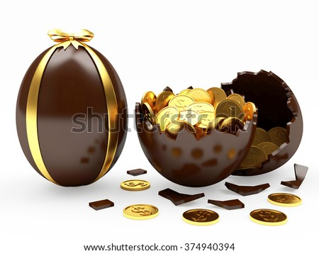 Easter surprise. Chocolate Easter egg decorated ribbon and broken egg with coins inside isolated on white background - stock photo