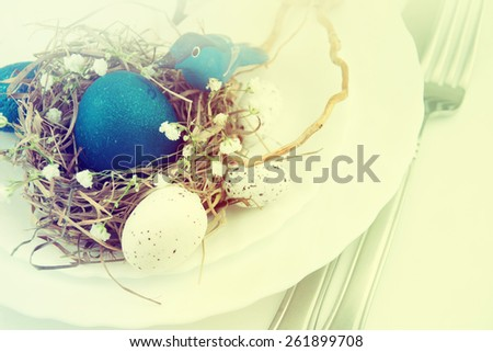 Easter table setting.  - stock photo