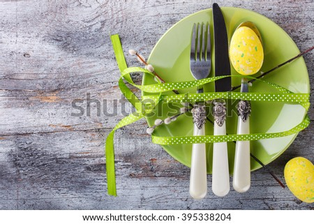 Easter table setting. Holiday Decorations.Happy Easter.Copy space.selective focus. - stock photo