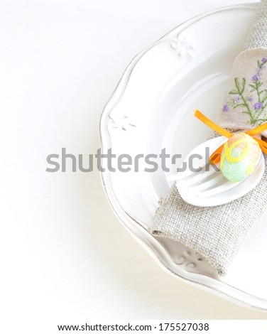 Easter table setting in a rustic vintage style