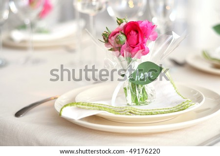 Easter  table setting with flowers