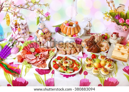 easter table with dishes for traditional in Poland festive breakfast - stock photo