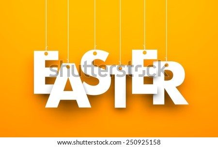 Easter. Text hanging on the rope - stock photo