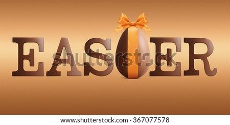 easter text with chocolate easter egg and ribbon bow - stock photo