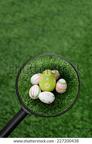 Easter theme: Found Easter eggs group - stock photo