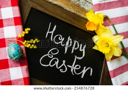 Easter time, spring flowers, easter eggs and  easter bunny - stock photo