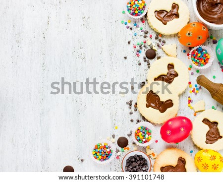 Easter treats for kids concept background on a white background empty space for text top view - stock photo