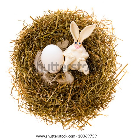 Easter white toy rabbit and white egg a nest from a dry grass on a white background