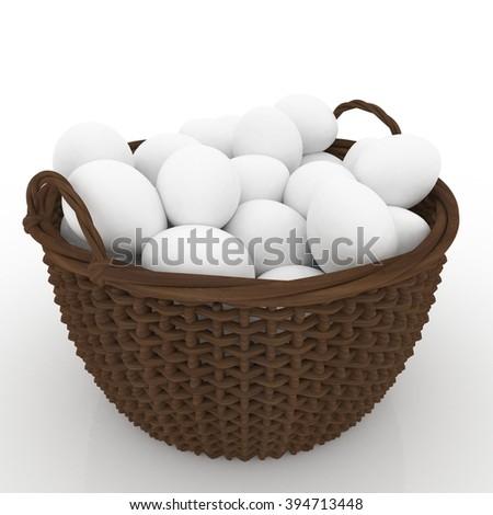 Easter wicker basket eggs - stock photo