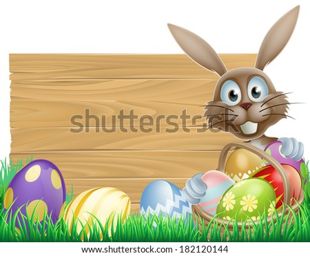 Easter wood sign with the Easter bunny and chocolate Easter eggs