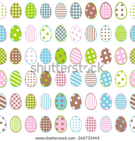 Easter wrapping paper with patterned eggs on white background - stock photo