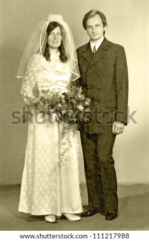 EASTERN BOHEMIA, CZECHOSLOVAKIA, CIRCA 1972 - Bride and Groom, newlyweds, official portrait - circa 1972 - stock photo