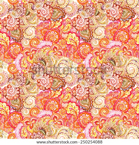 Eastern design with flowers and paisley. Seamless ornamental ethnic pattern  - stock photo