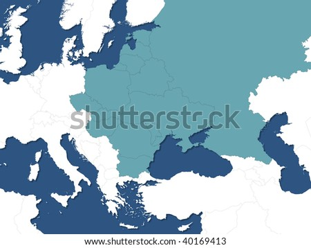 eastern europe map - stock photo
