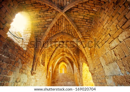 Eastern gatehouse in ancient city Caesaria - stock photo