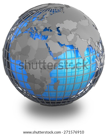 Eastern Hemisphere on a grey geographic net enveloping Earth, isolated on white background. - stock photo