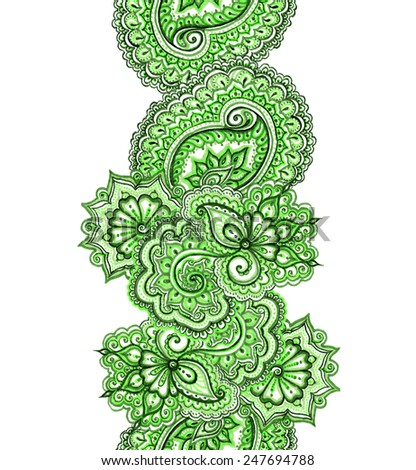 Eastern indian design with paisley. Green spring banner frame. - stock photo