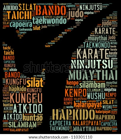 Eastern martial arts: text graphics - stock photo
