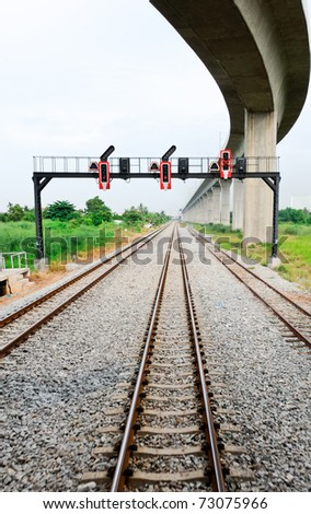 Eastern railway line under the bridge of high speed train to Airport,Thailand - stock photo