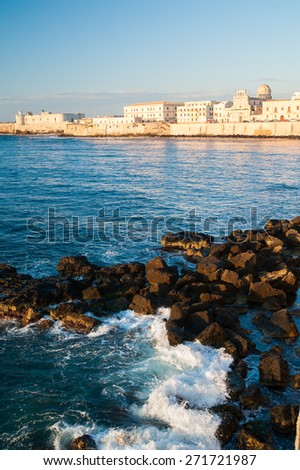 Eastern side of Ortigia, the ancient part of Syracuse, Sicily, with sea and rocks