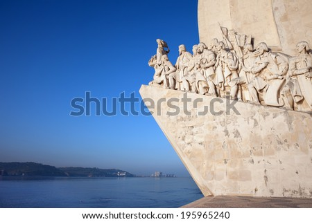 Eastern side of the Monument to the Discoveries (Padrao dos Descobrimentos) by the Tagus River in Belem district of Lisbon in Portugal. - stock photo