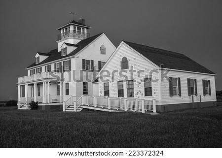 Eastham lifesaving station residence at Coast Guard beach.  Historical building Located in Cape Cod MA on the Atlantic Ocean. - stock photo