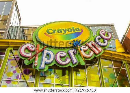 easton pa september 22 2017 sign outside crayola factory experience