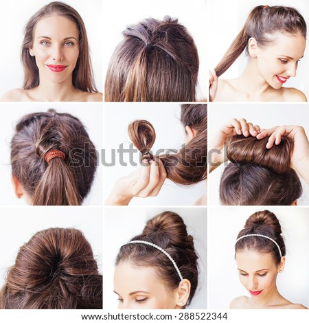 easy bridal korean bun updo tutorial by beauty blogger - stock photo