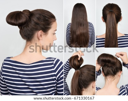 Hair Bun Stock Images RoyaltyFree Images Vectors Shutterstock - Hairstyle in bun
