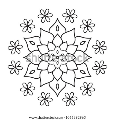 Easy Mandala Hand Drawn Coloring Pages For Beginner