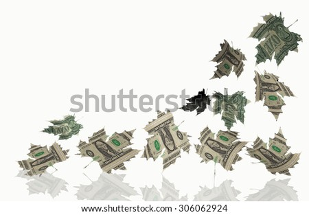 easy  money  - falling dollars like autumn leaves - sales, discounts, falling prices -  - stock photo