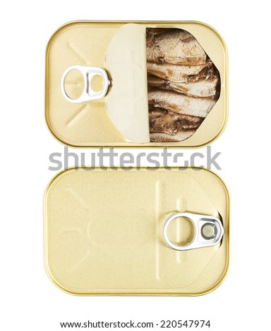 Easy open sardine can with the pull tab isolated over the white background, top view, set of two images, closed and opened - stock photo
