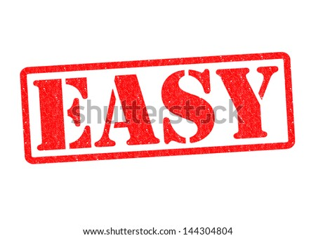 EASY Rubber Stamp over a white background. - stock photo