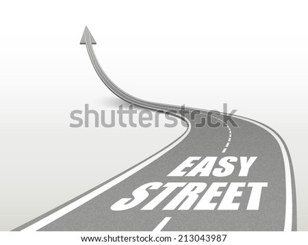 easy street words on highway road going up as an arrow