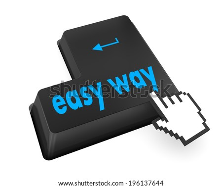 easy way button on computer keyboard pc key, raster - stock photo