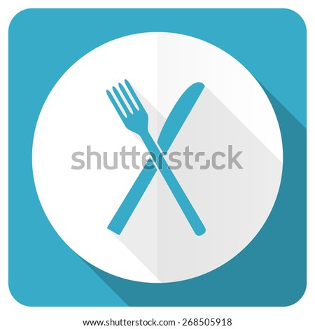 eat blue flat icon restaurant symbol   - stock photo