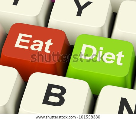 Eat Diet Keys Showing Fiber Exercise Fat And Calorie Advice Online - stock photo