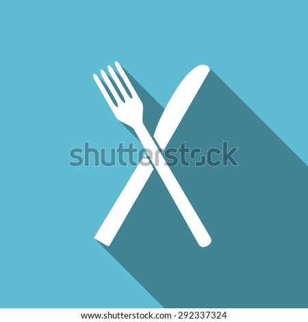eat flat icon restaurant symbol  original modern design flat icon for web and mobile app with long shadow  - stock photo
